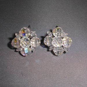 Clear AB Demi Parure Crystal Silver Toned Cluster